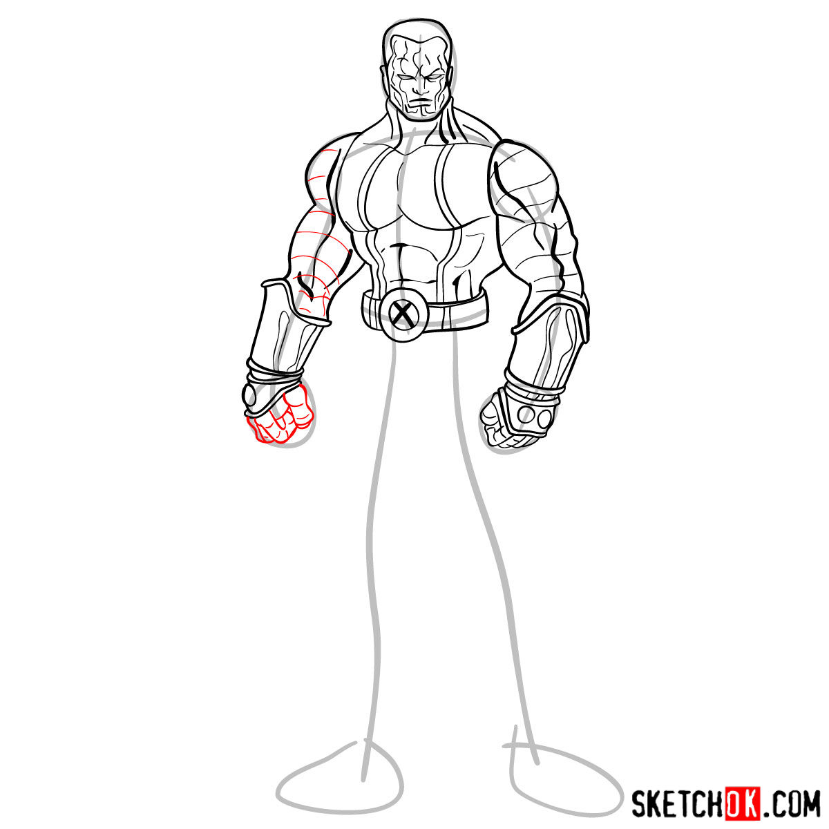 How to draw Colossus from Deadpool film and X-Men series - step 11