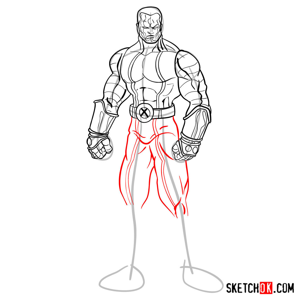 How to draw Colossus from Deadpool film and X-Men series - step 12
