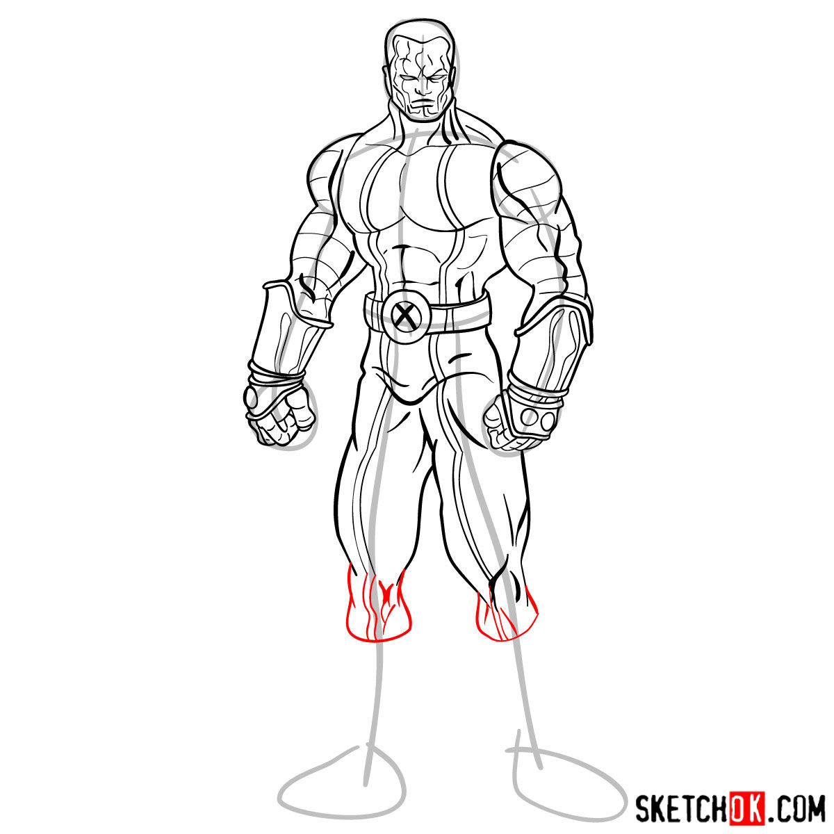 How to draw Colossus from Deadpool film and X-Men series - step 13