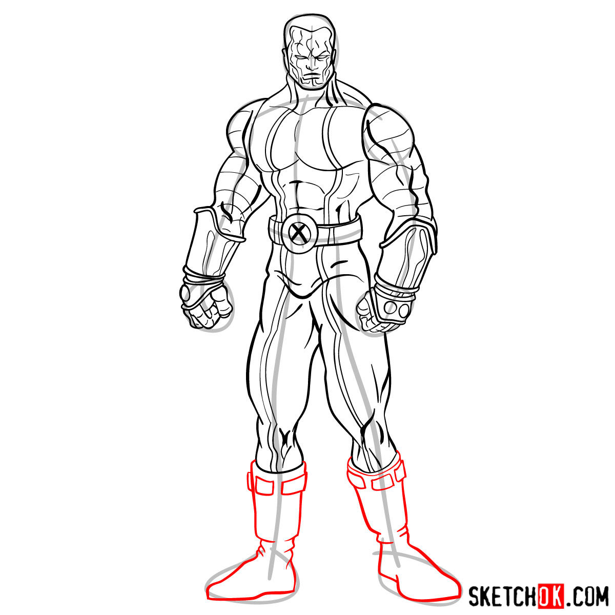 How to draw Colossus from Deadpool film and X-Men series - step 14