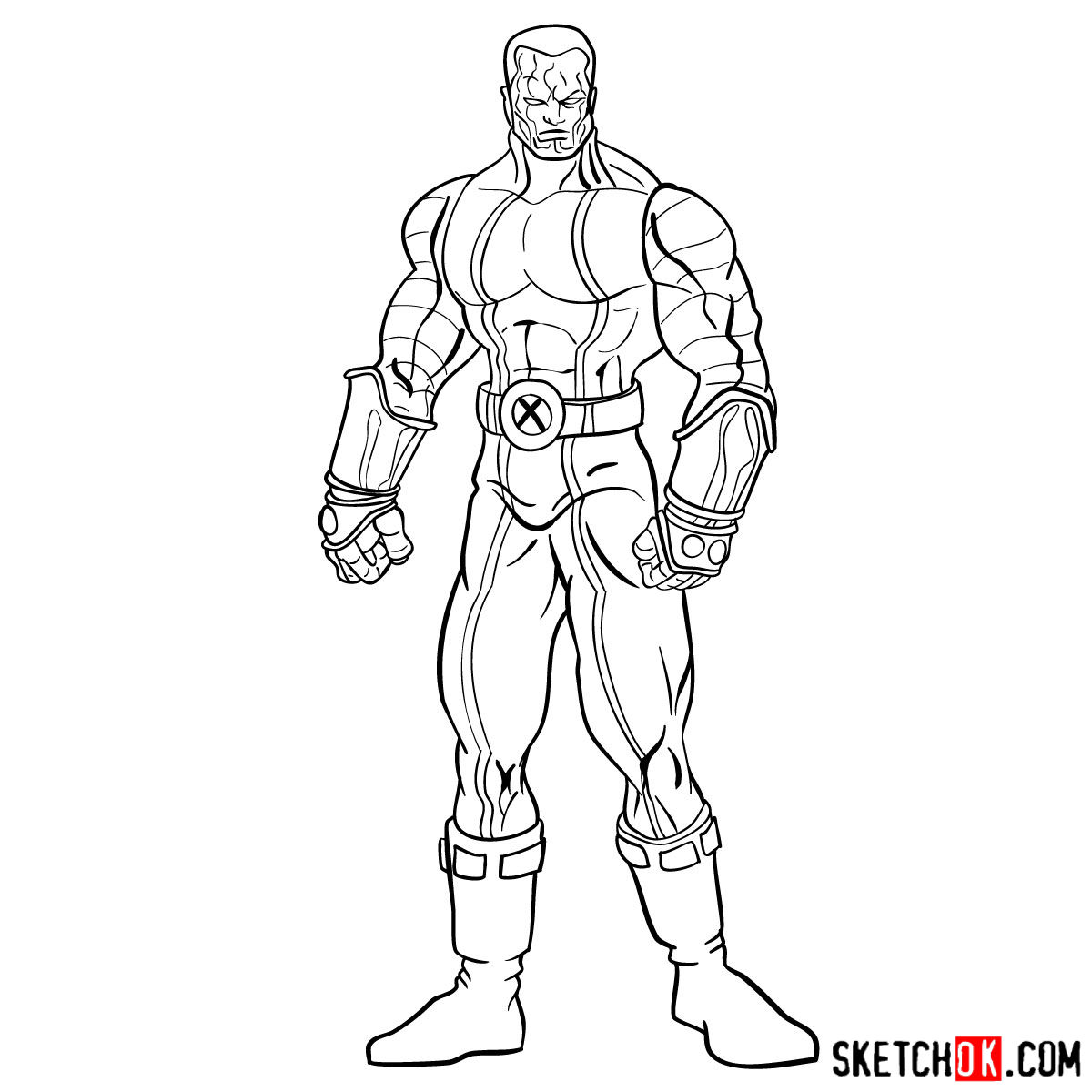 How to draw Colossus from Deadpool film and X-Men series - step 15