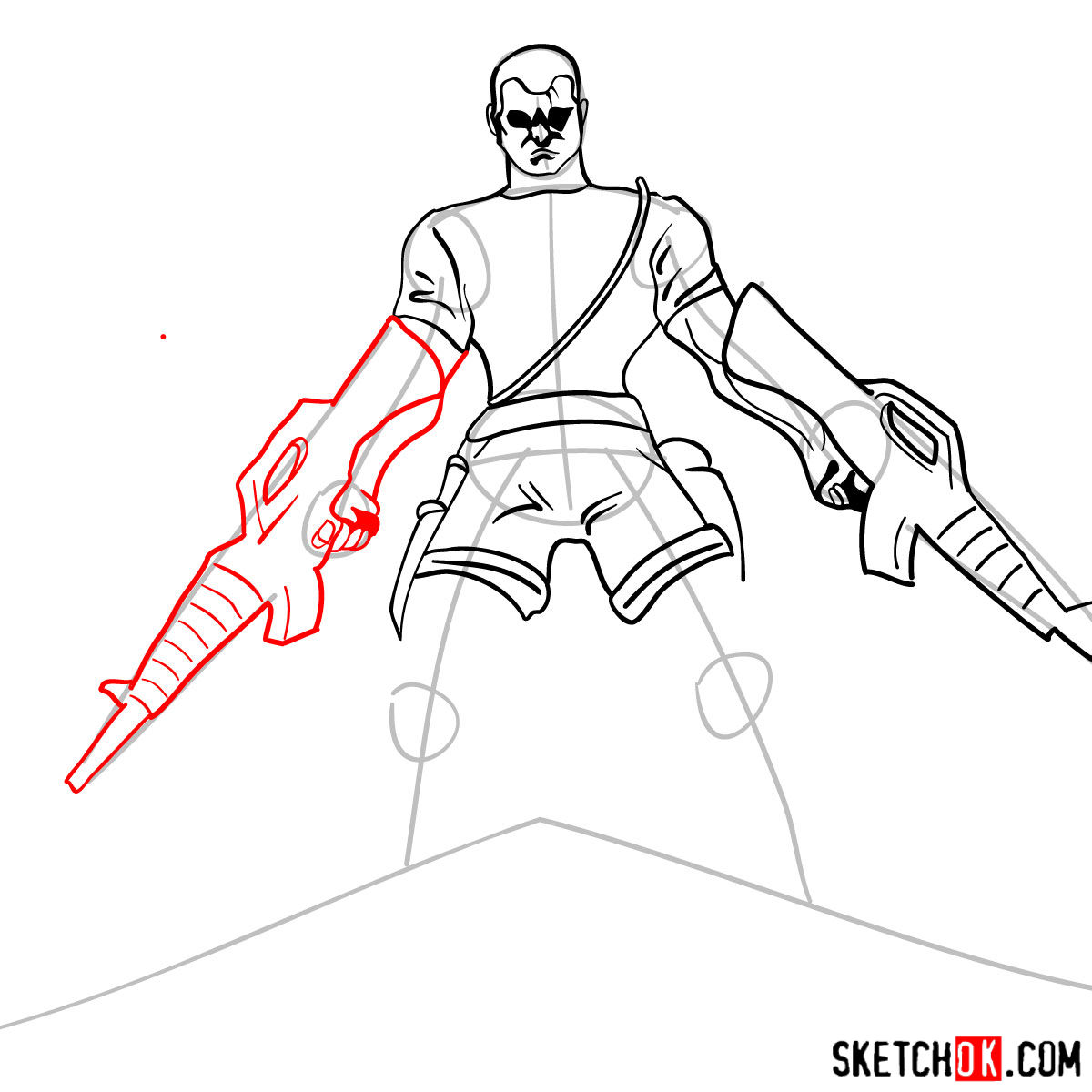 How to draw The Punisher with two submachine guns - step 09