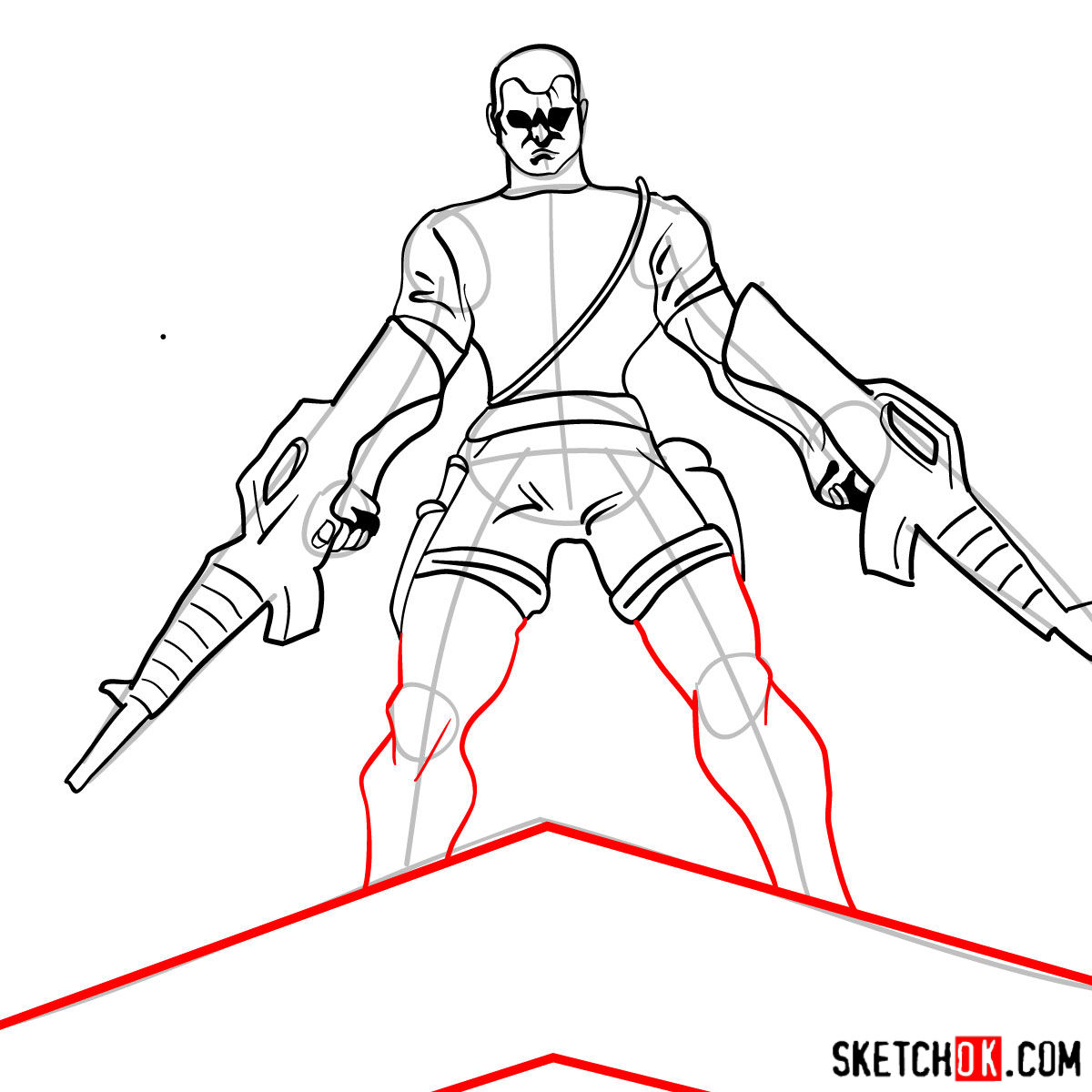 How to draw The Punisher with two submachine guns - step 10