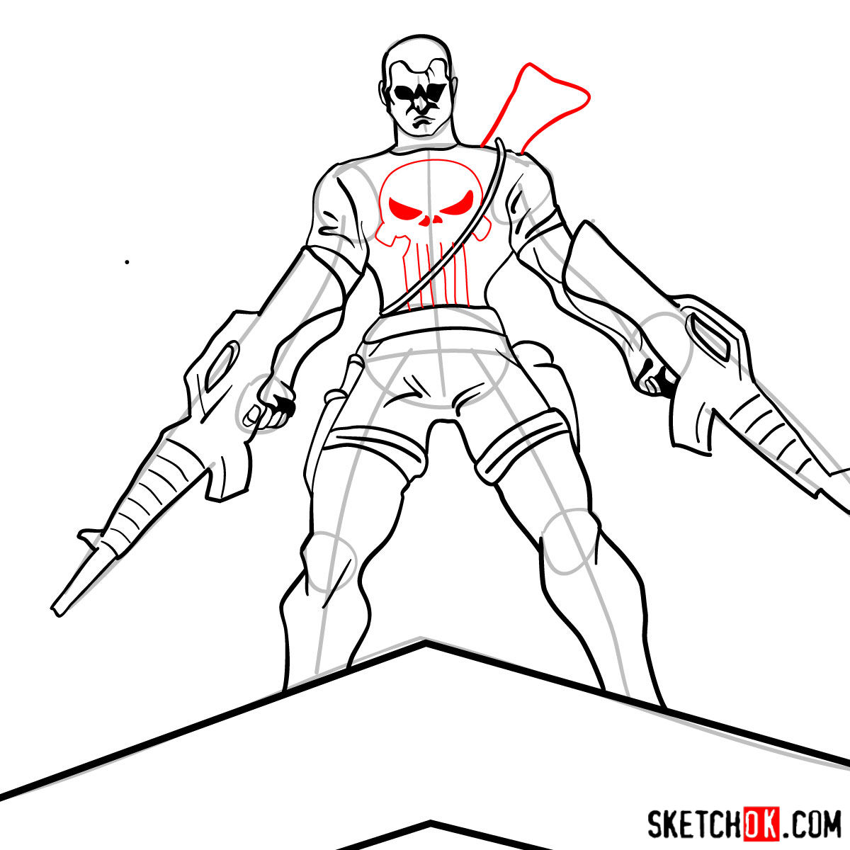 How to draw The Punisher with two submachine guns - step 11