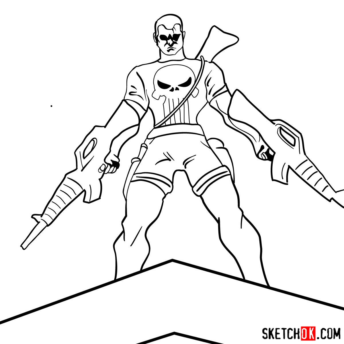 How to draw The Punisher with two submachine guns - step 12