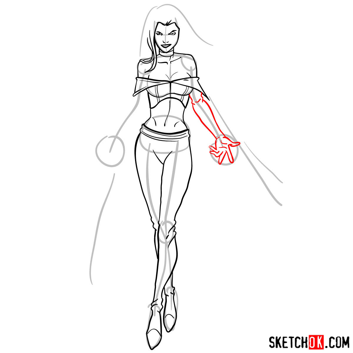 How to draw Emma Frost in full growth - step 11
