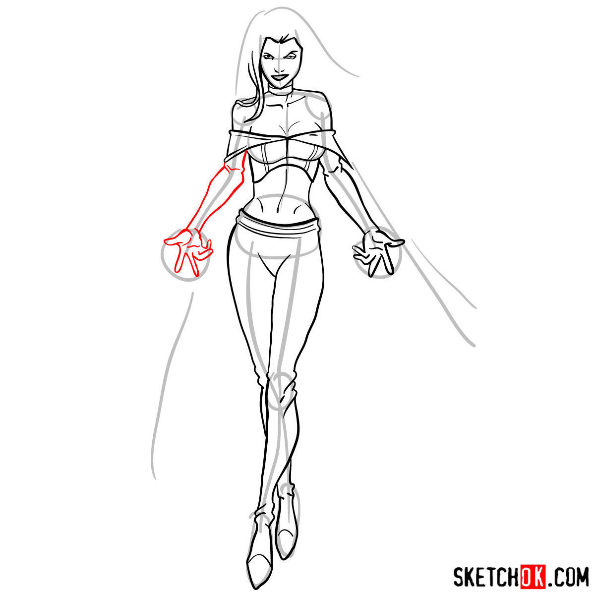 How to draw Emma Frost in full growth - step 12