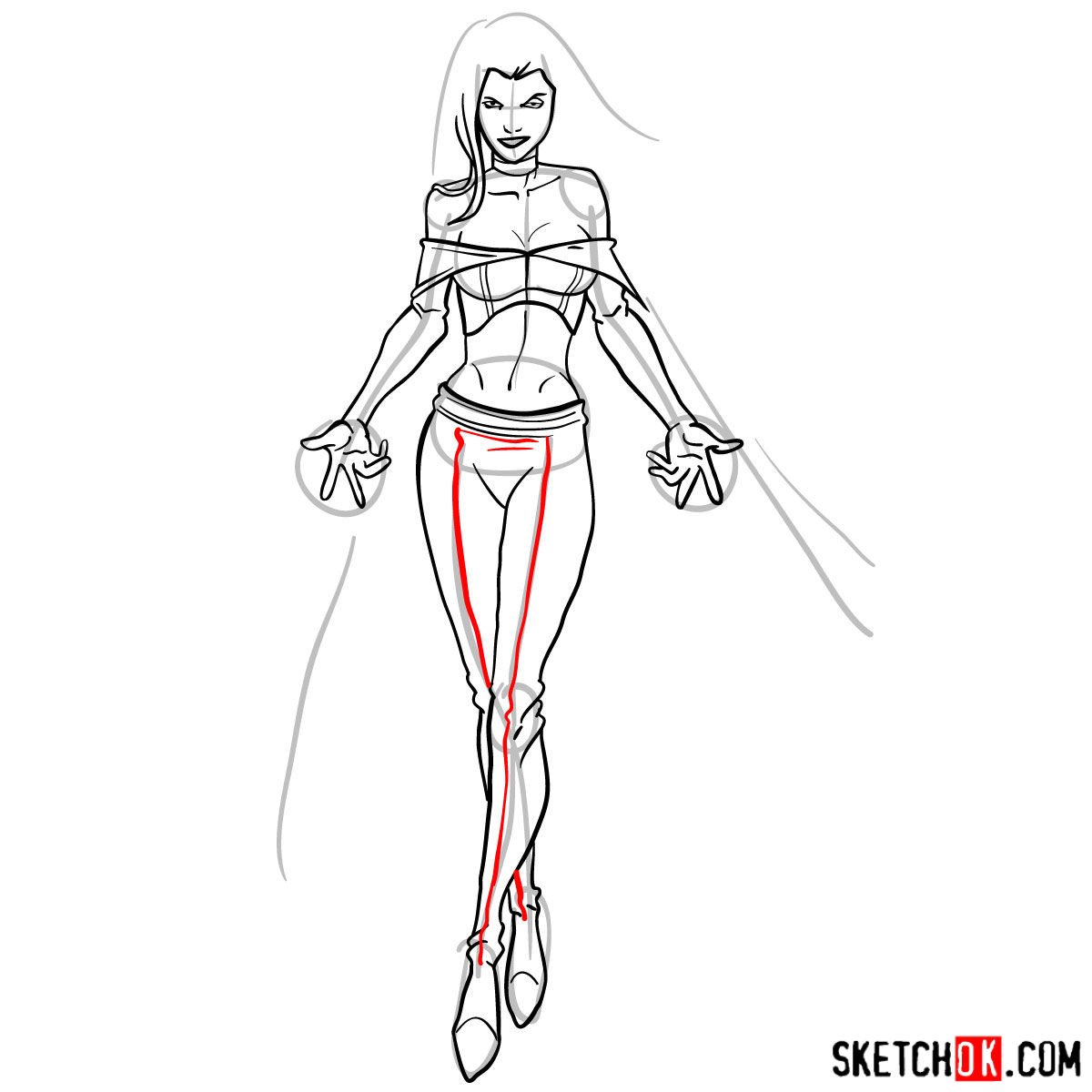 How to draw Emma Frost in full growth - step 13