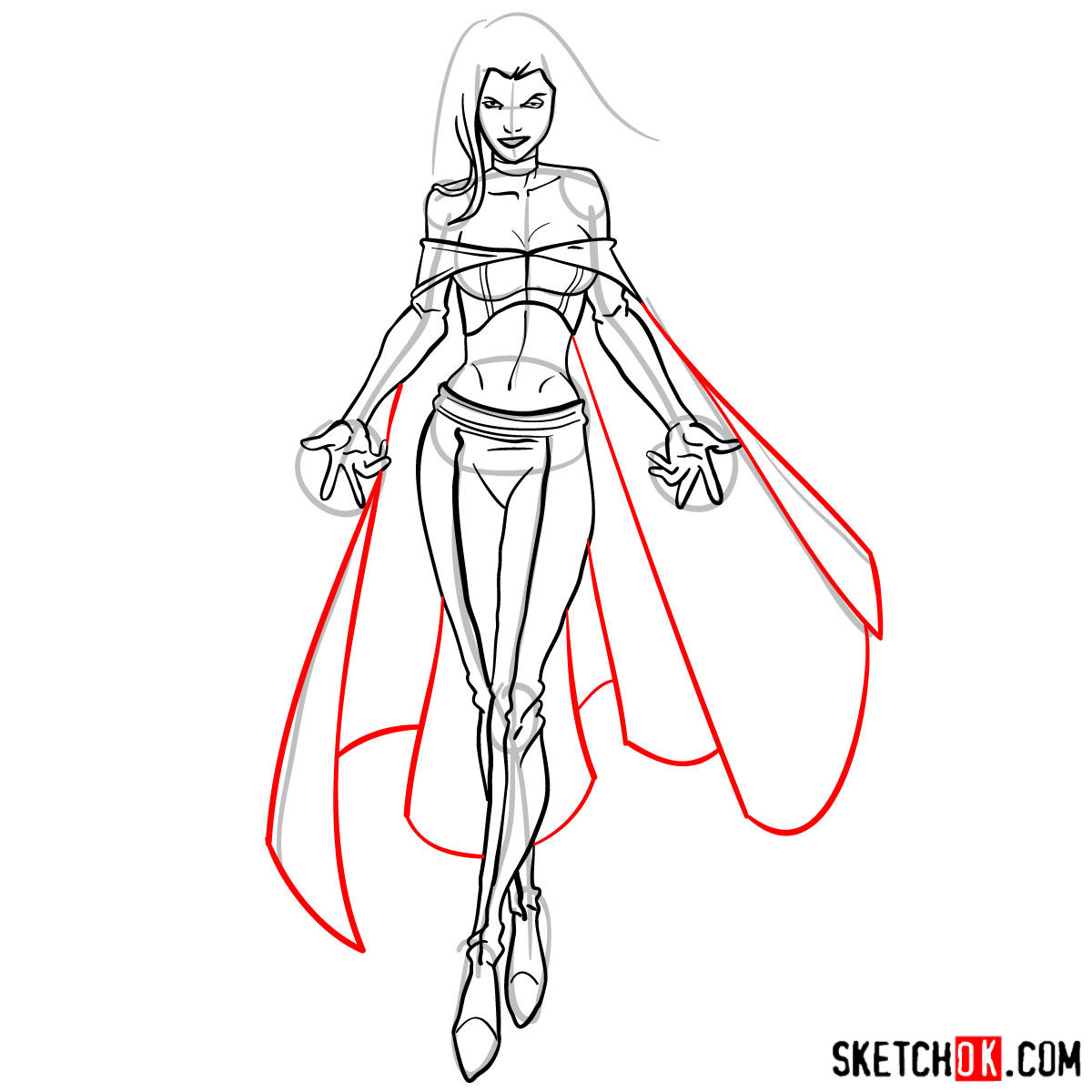 How to draw Emma Frost in full growth - step 14