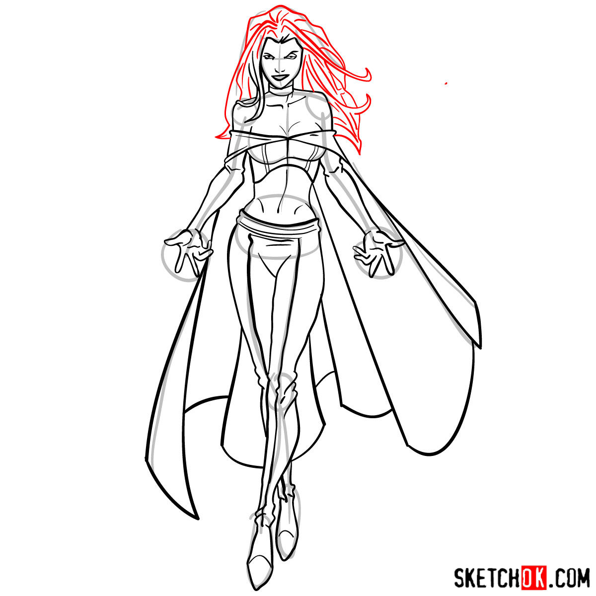 How to draw Emma Frost in full growth - step 15