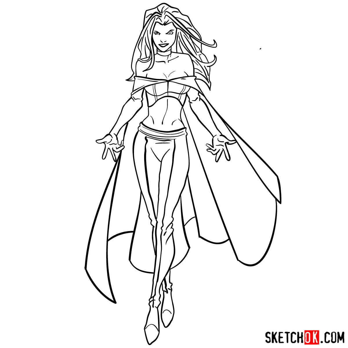 How to draw Emma Frost in full growth - step 16