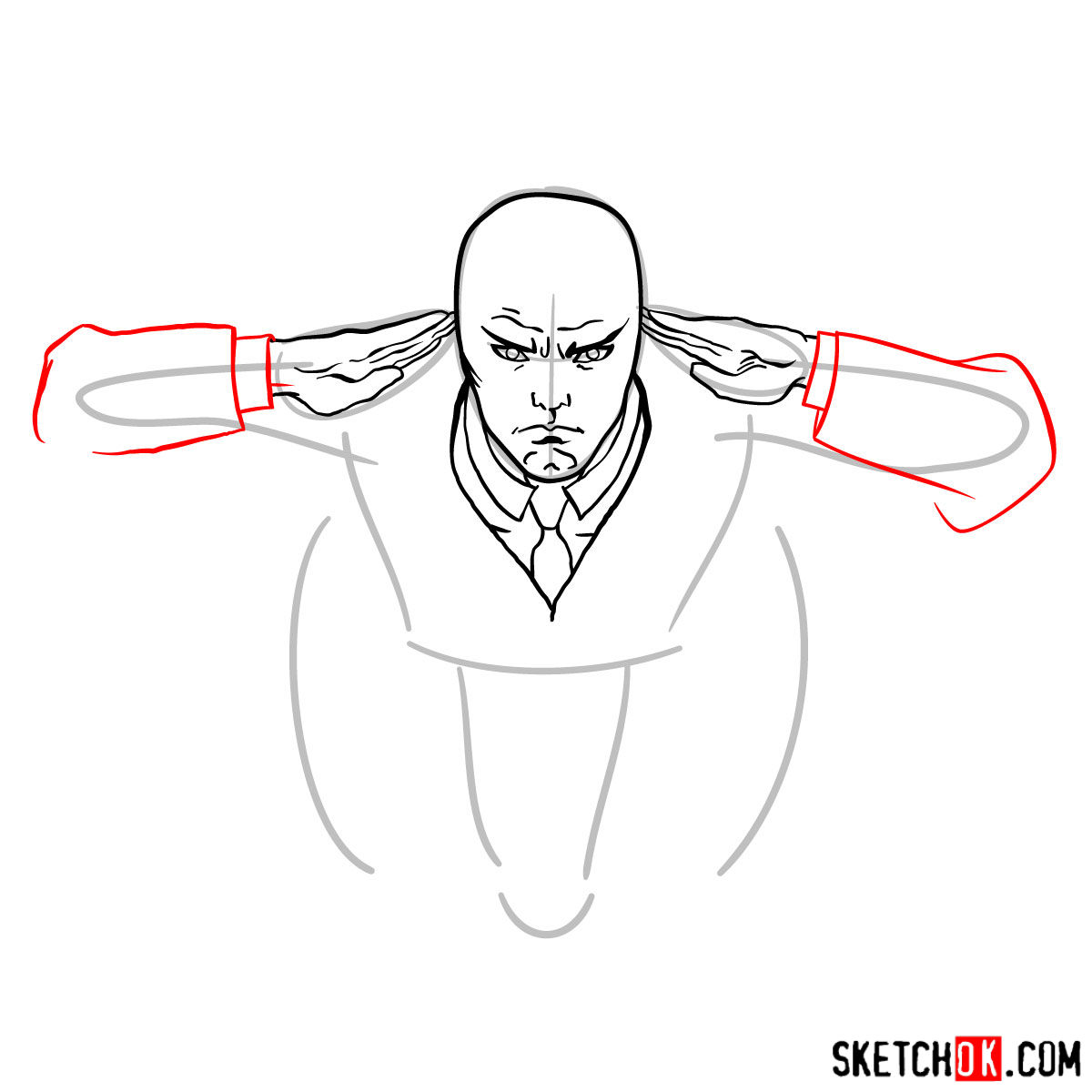 How to draw Professor X in the wheelchair - step 06