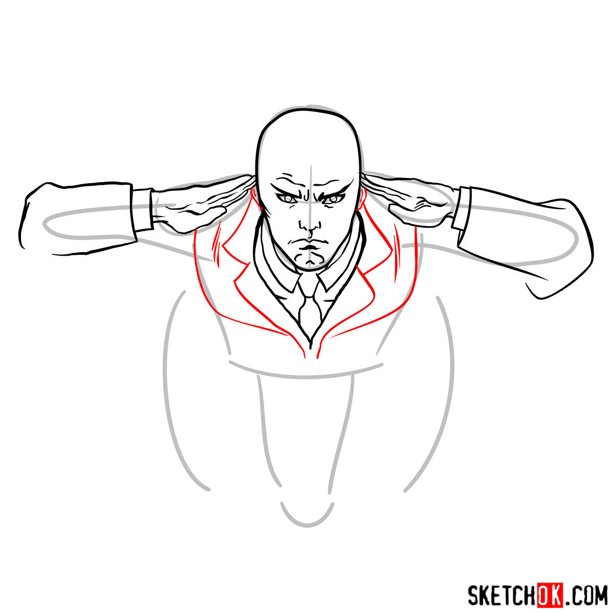 How to draw Professor X in the wheelchair - step 07
