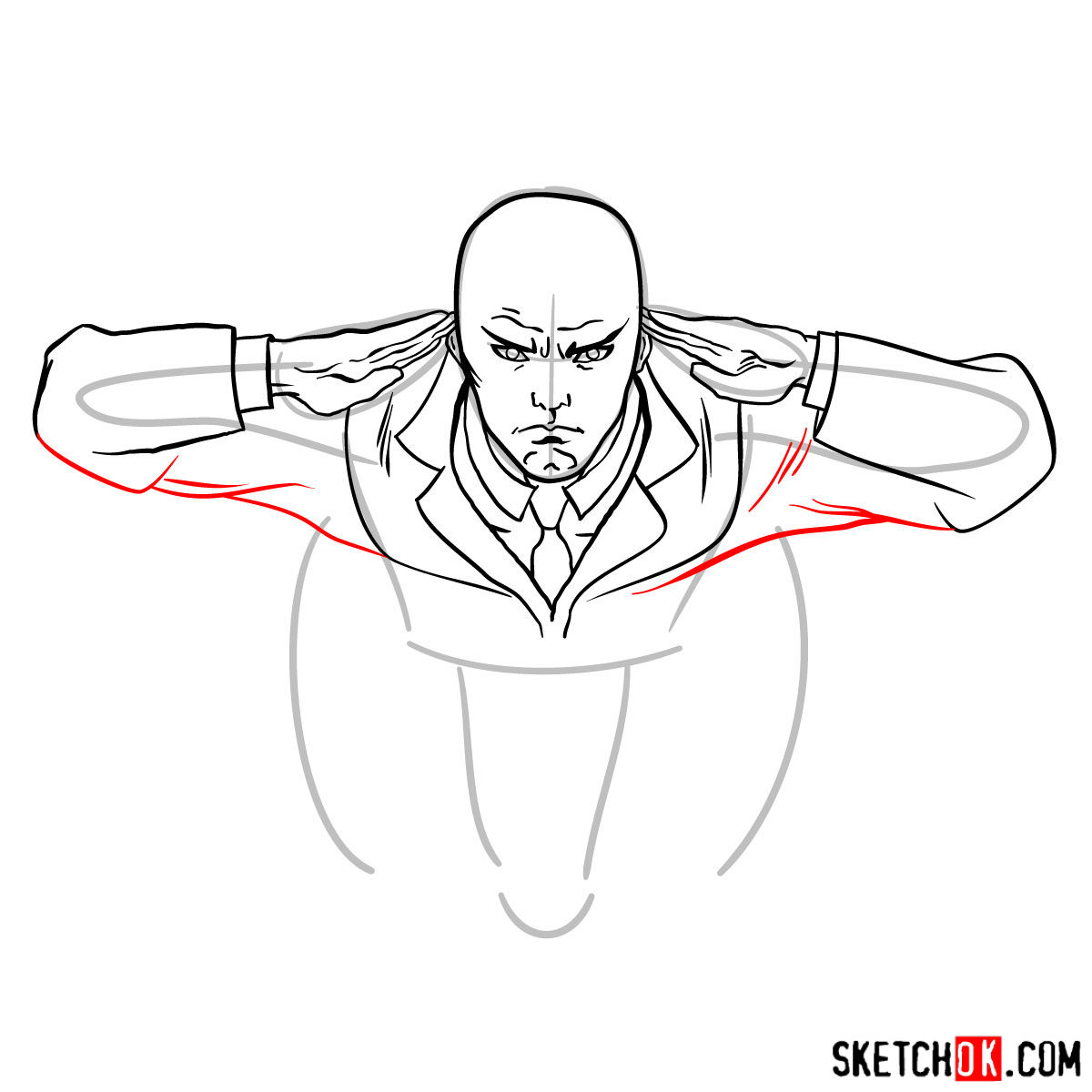 How to draw Professor X in the wheelchair - step 08