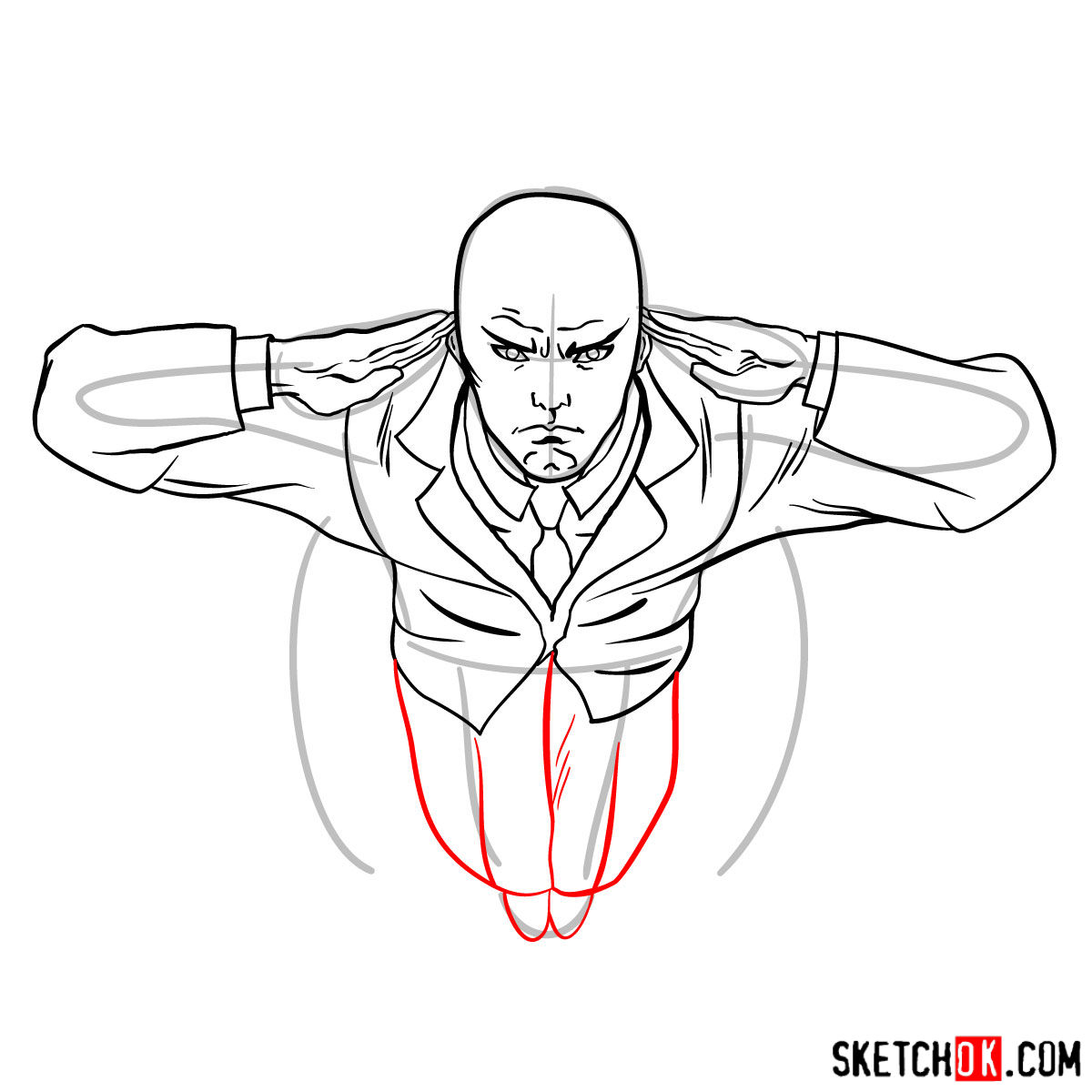 How to draw Professor X in the wheelchair - step 10