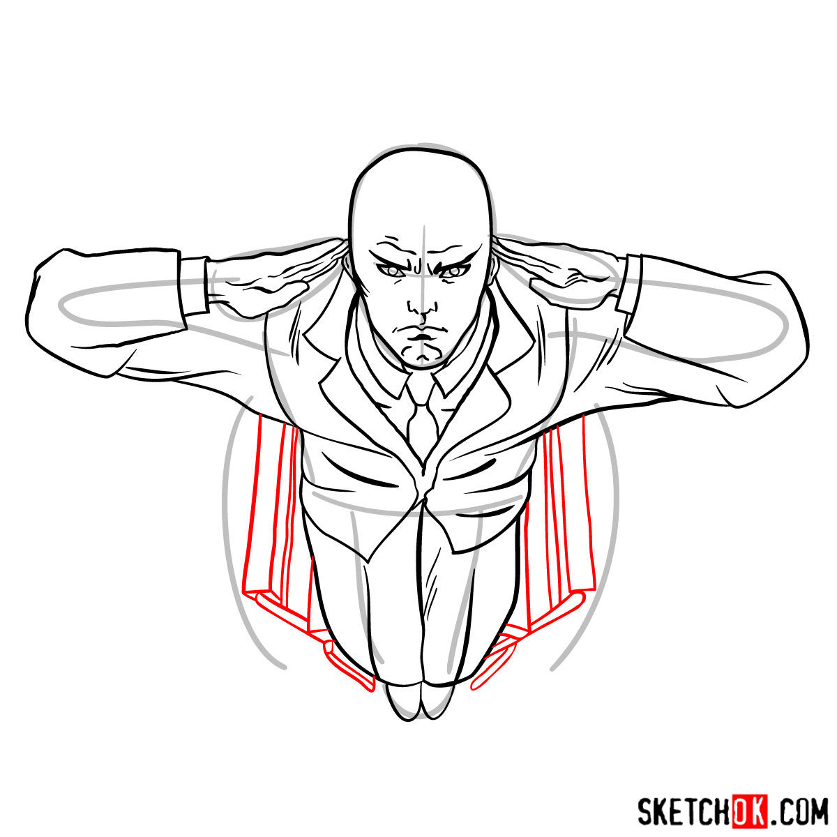 How to draw Professor X in the wheelchair - step 11