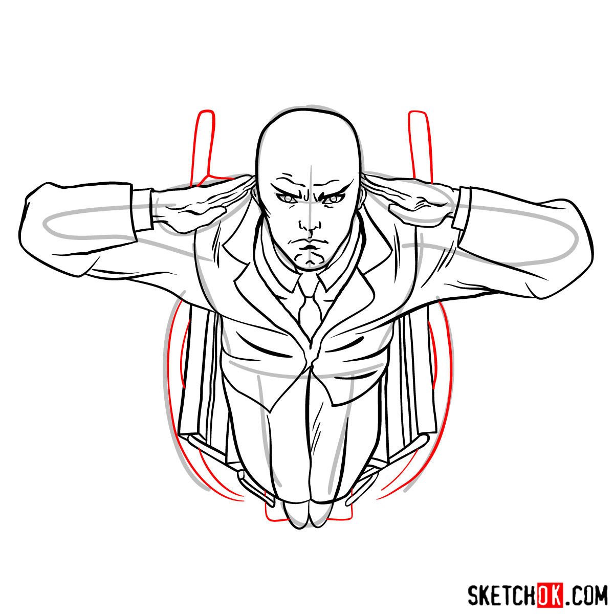 How to draw Professor X in the wheelchair - step 12