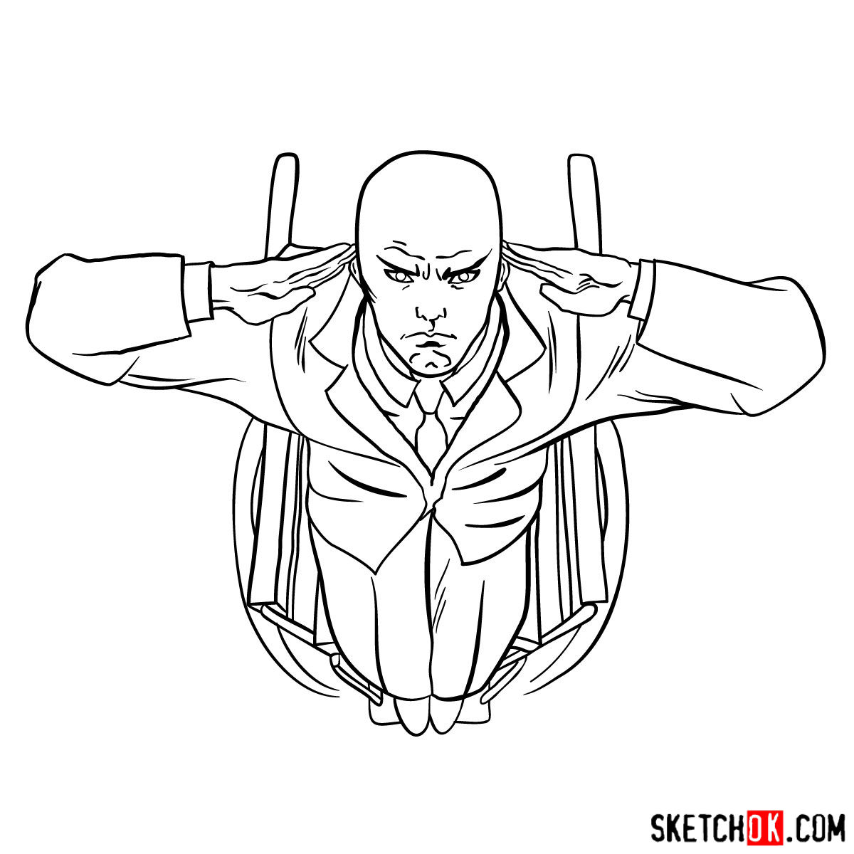 How to draw Professor X in the wheelchair - step 13