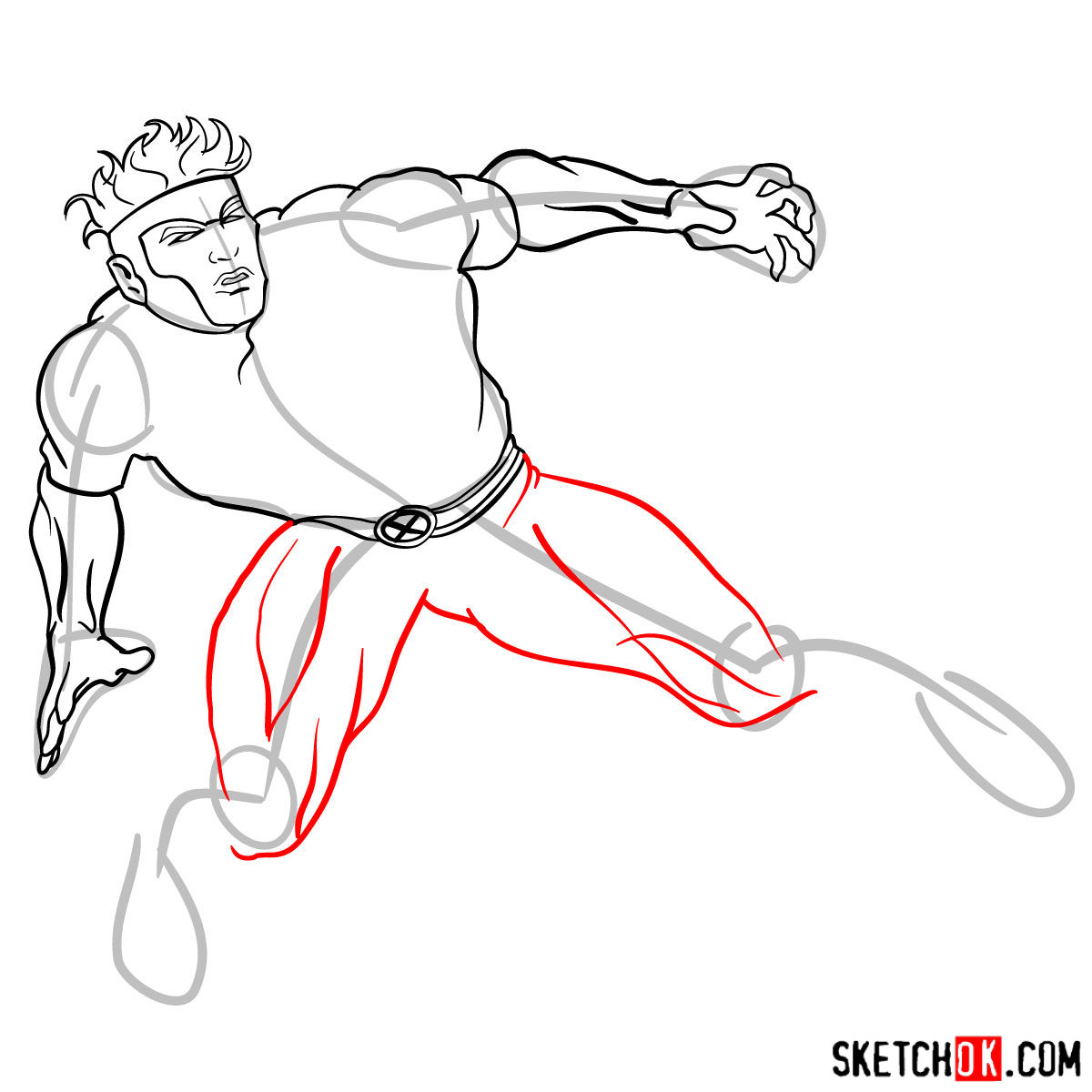 How to draw Havok from X-Men series - step by step tutorial - step 10