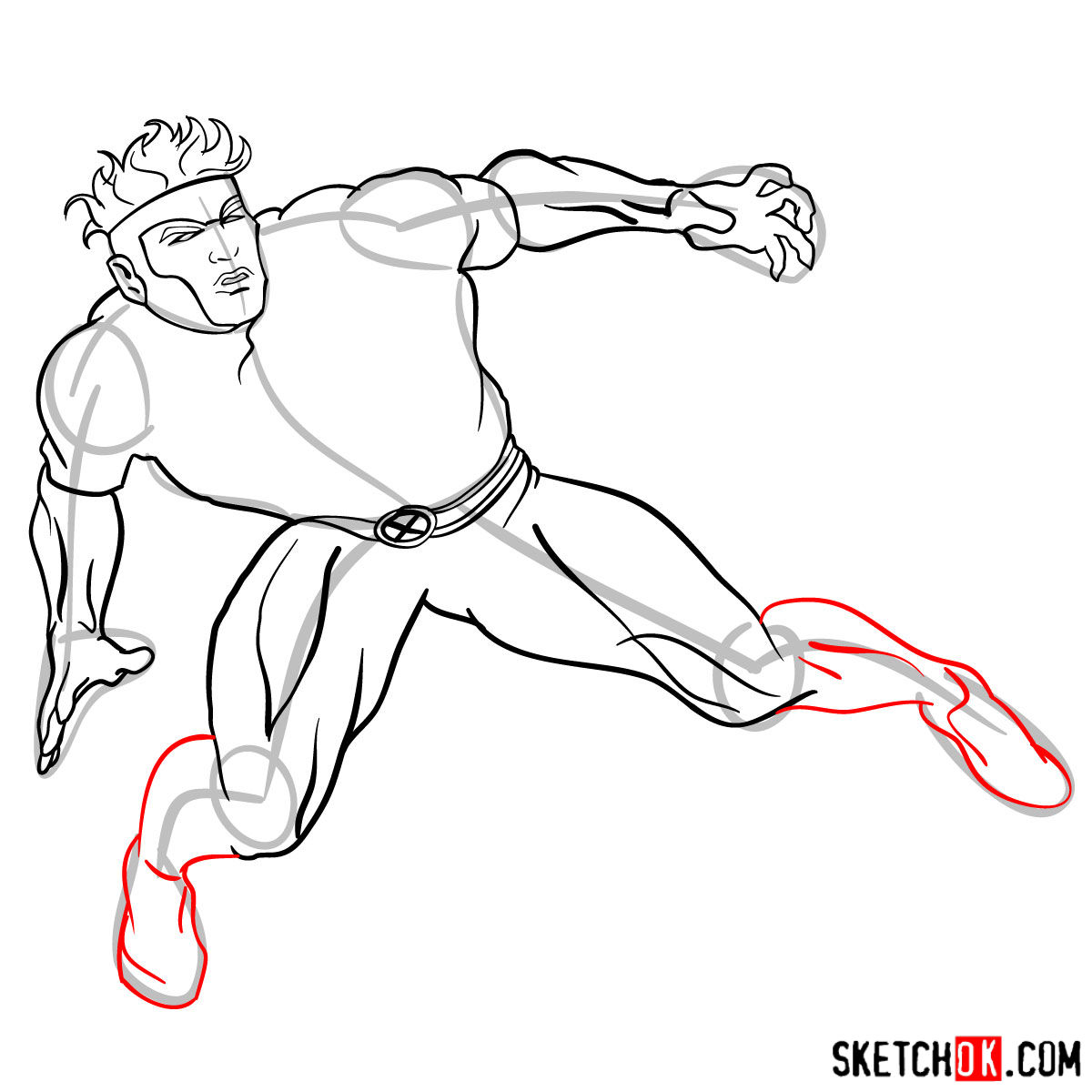 How to draw Havok from X-Men series - step by step tutorial - step 11