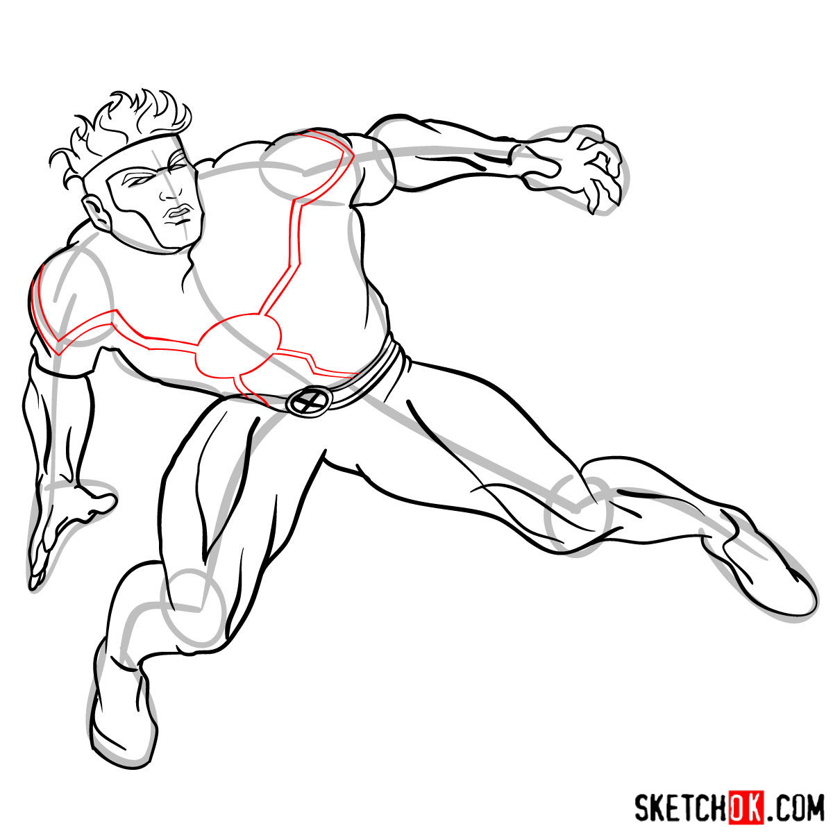 How to draw Havok from X-Men series - step by step tutorial - step 12