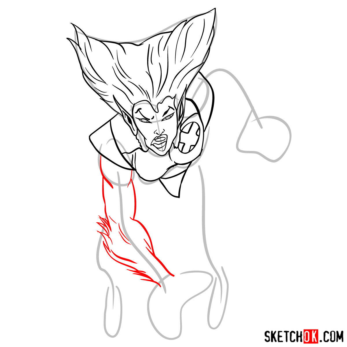 How to draw Wolfsbane, a mutant from X-Men series - step 08
