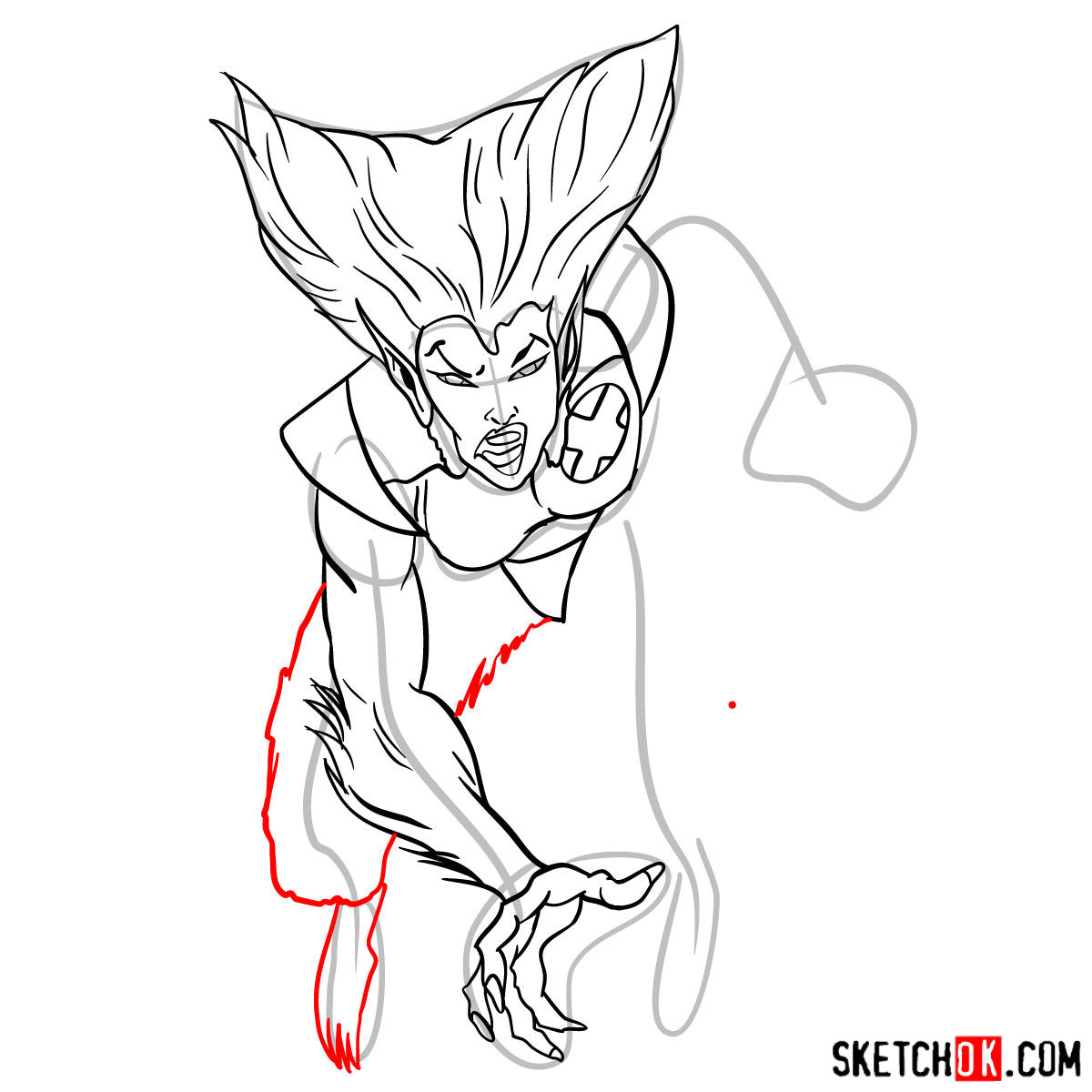 How to draw Wolfsbane, a mutant from X-Men series - step 10