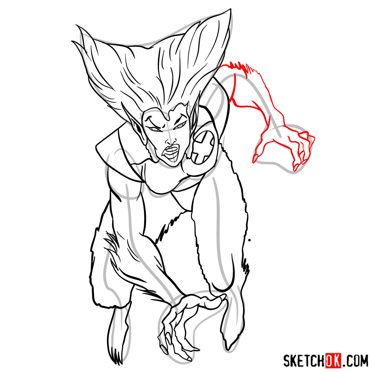 How to draw Wolfsbane, a mutant from X-Men series - step 12