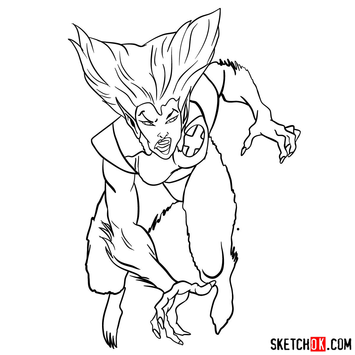 How to draw Wolfsbane, a mutant from X-Men series - step 13