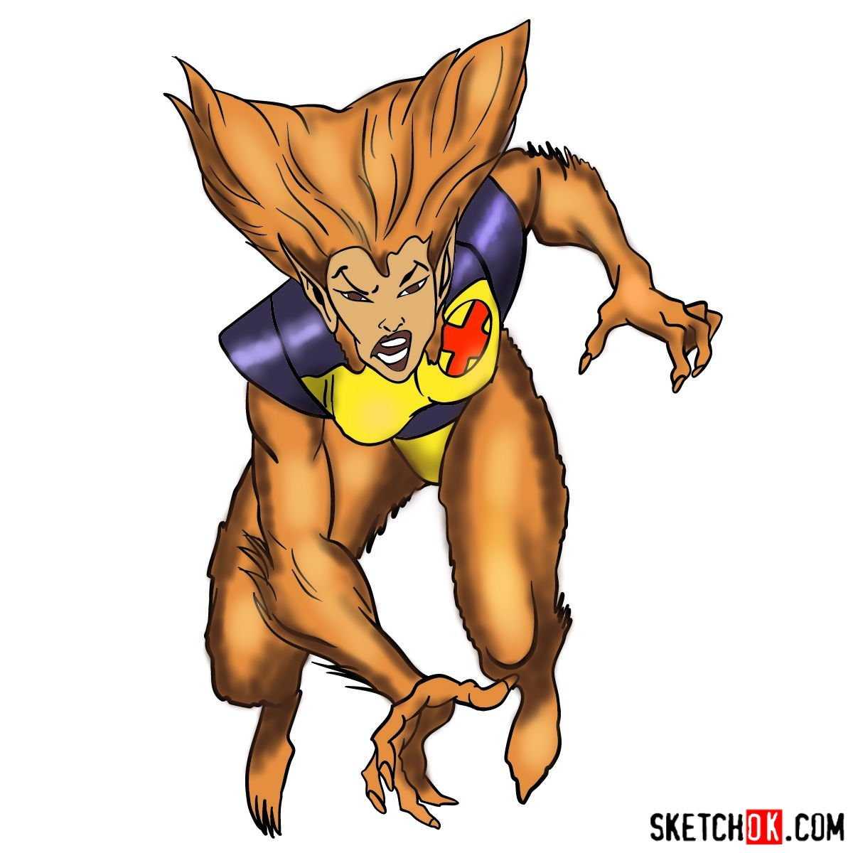 How to draw Wolfsbane, a mutant from X-Men series
