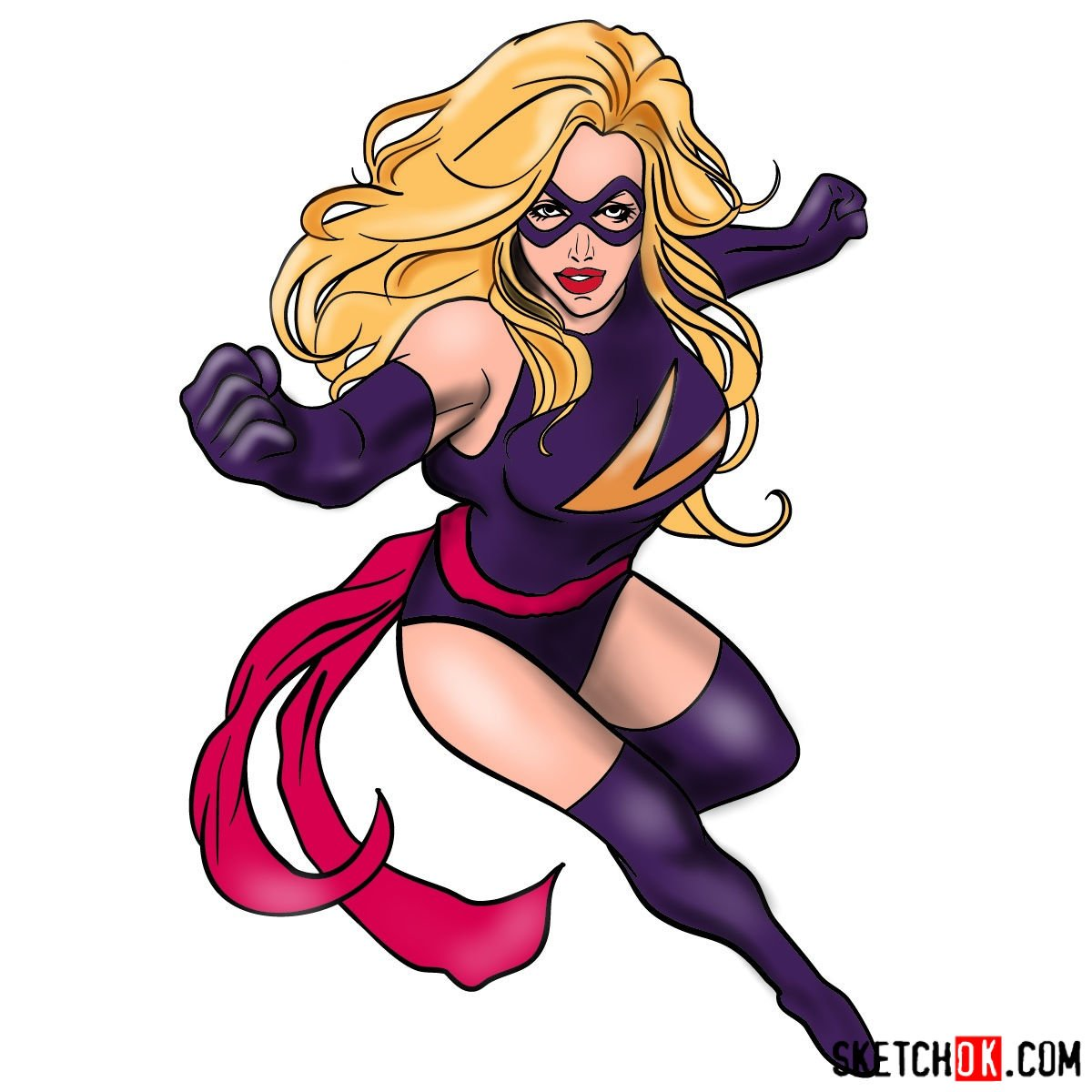 How To Draw Ms Marvel Carol Danvers Step By Step Drawing Tutorials