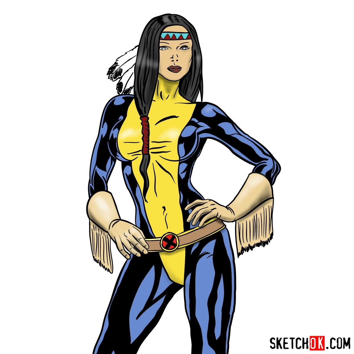 How to draw Danielle Moonstar from X-Men to the waist