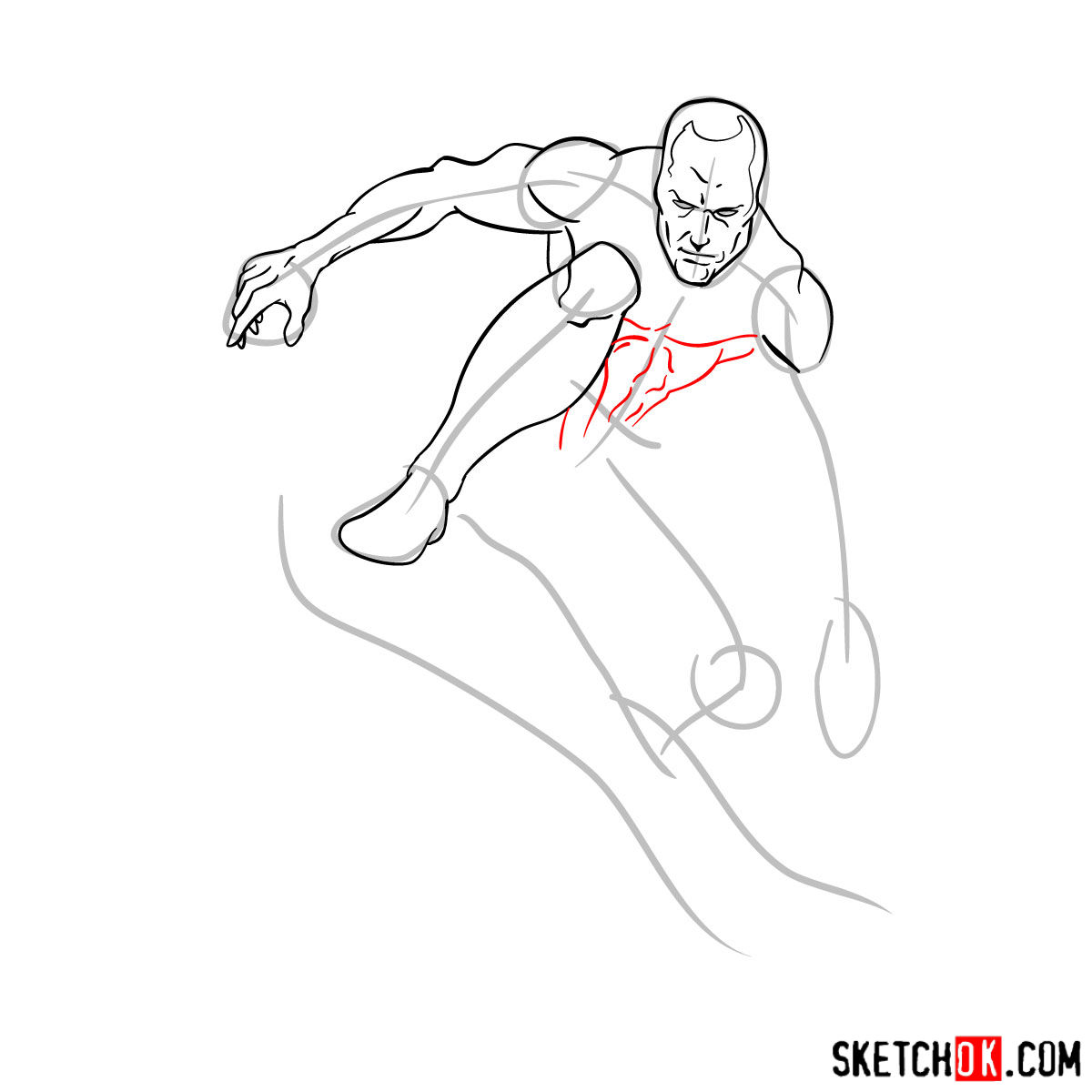 How to draw Iceman - step by step drawing tutorial - step 07
