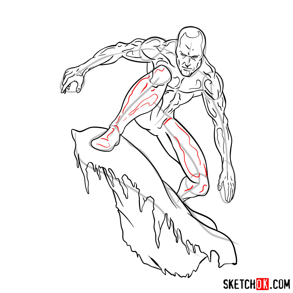 How to draw Iceman - step by step drawing tutorial - step 15
