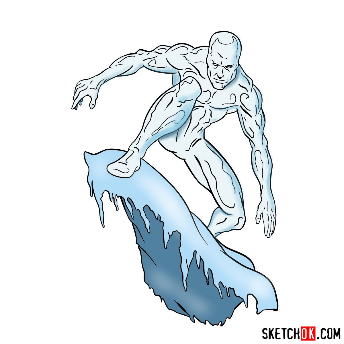 How to draw Iceman – step by step drawing tutorial