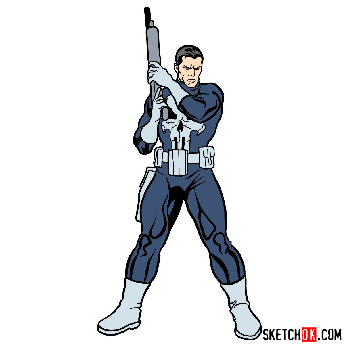 How to draw The Punisher with a gun