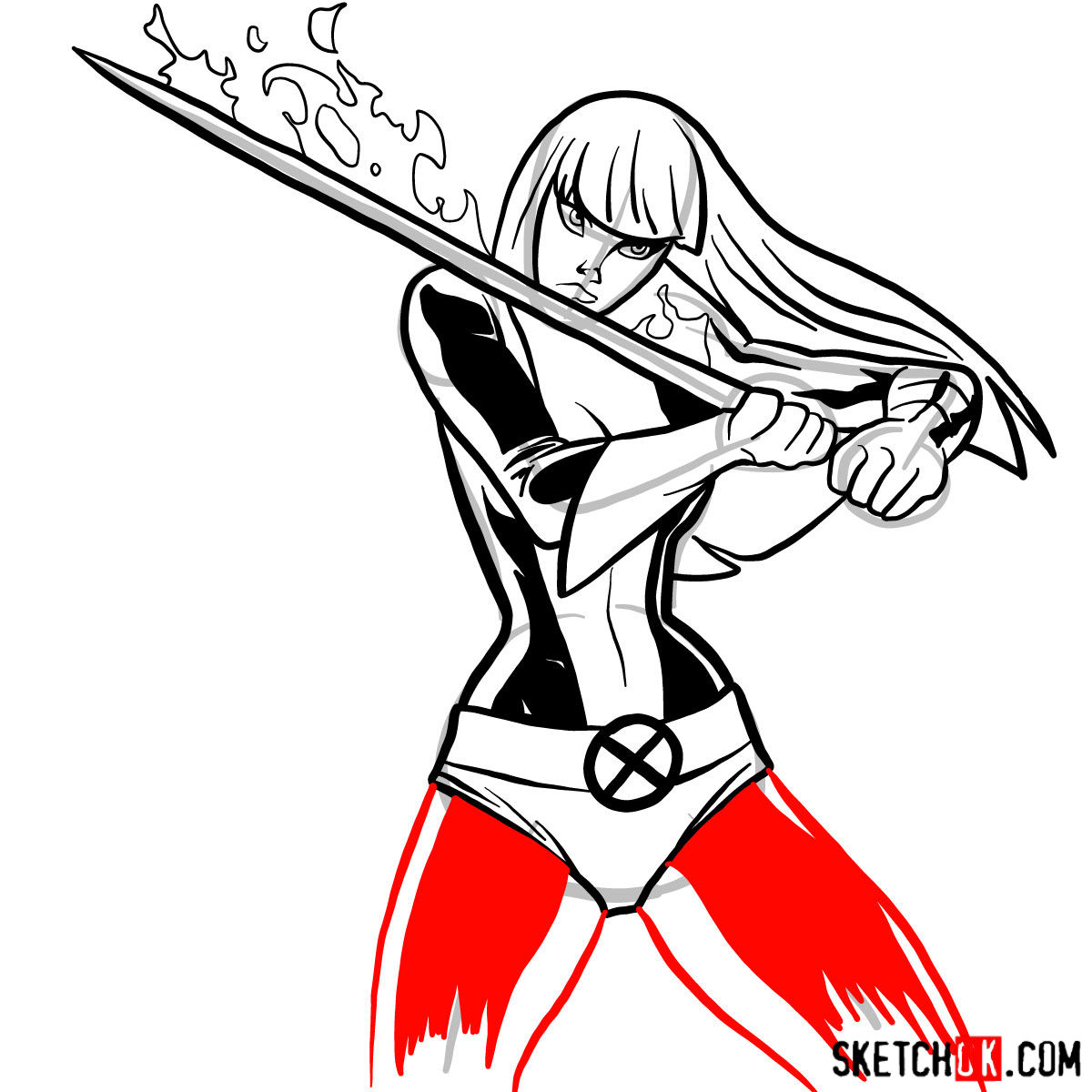 How to draw Magik, a mutant from X-Men - step 11