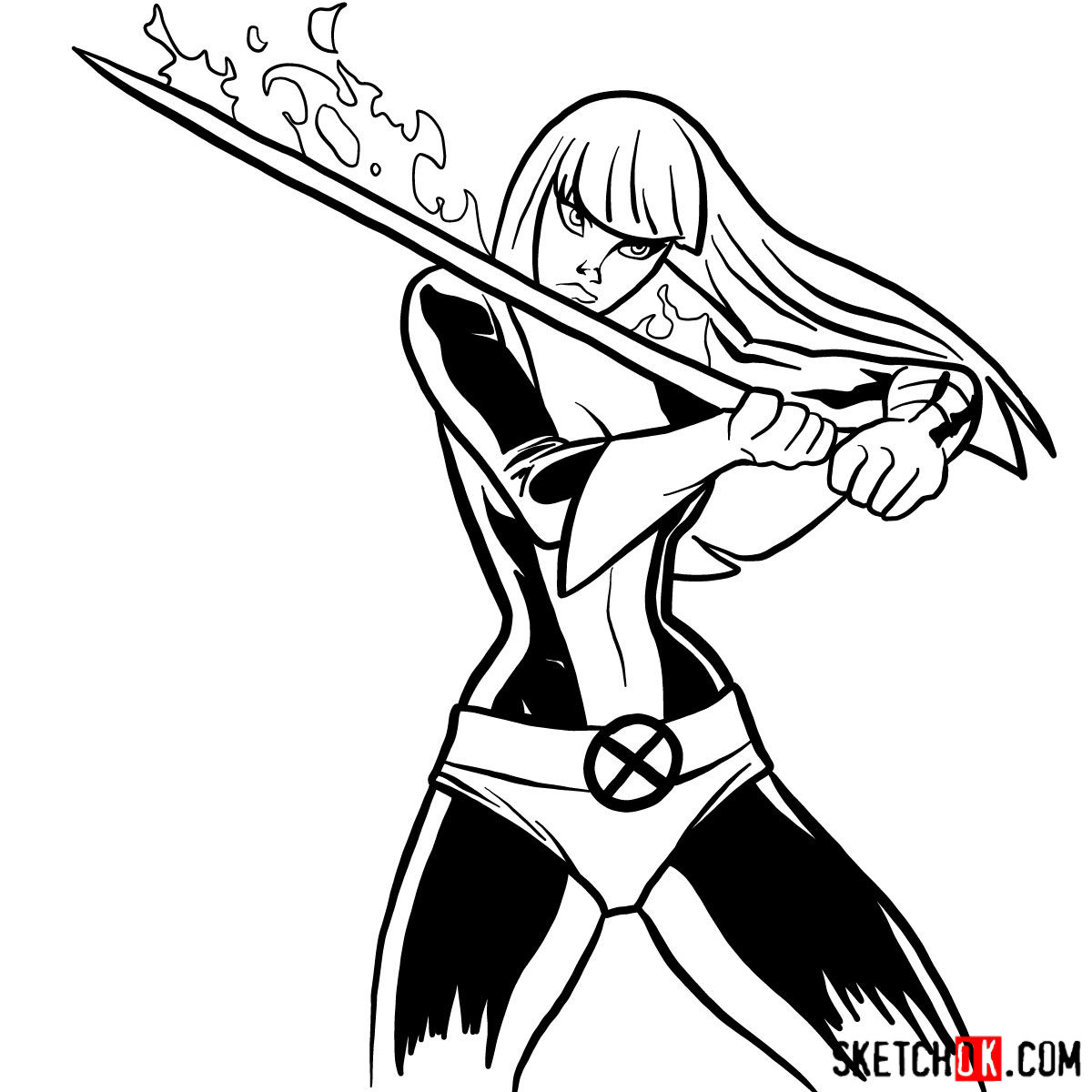 How to draw Magik, a mutant from X-Men - step 12