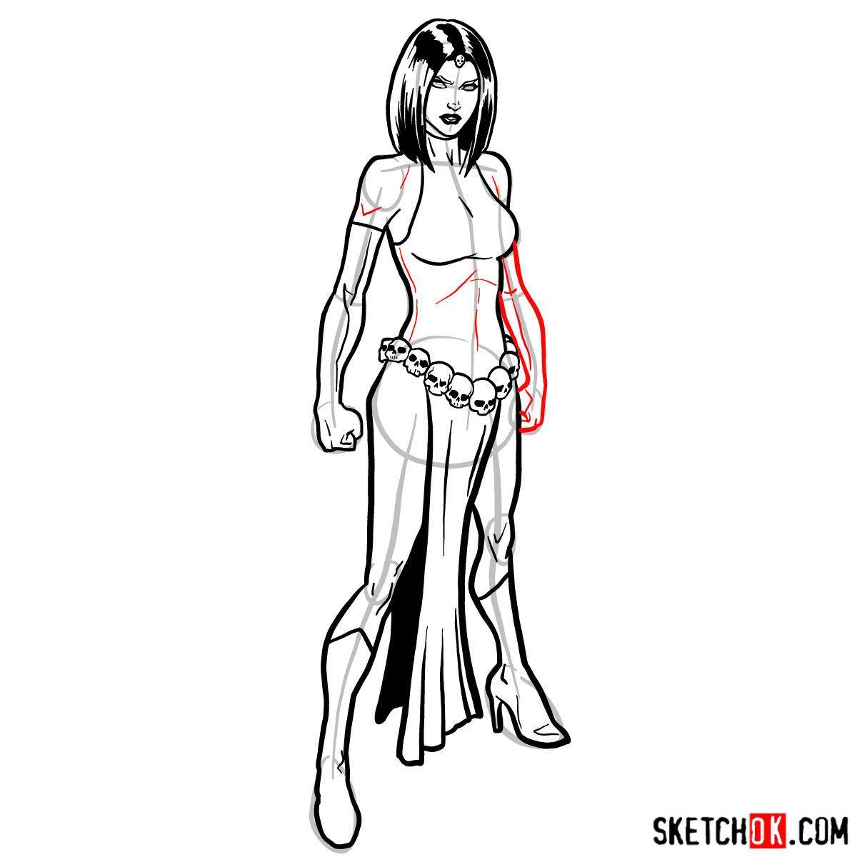 How to draw Mystique from X-Men - step 13
