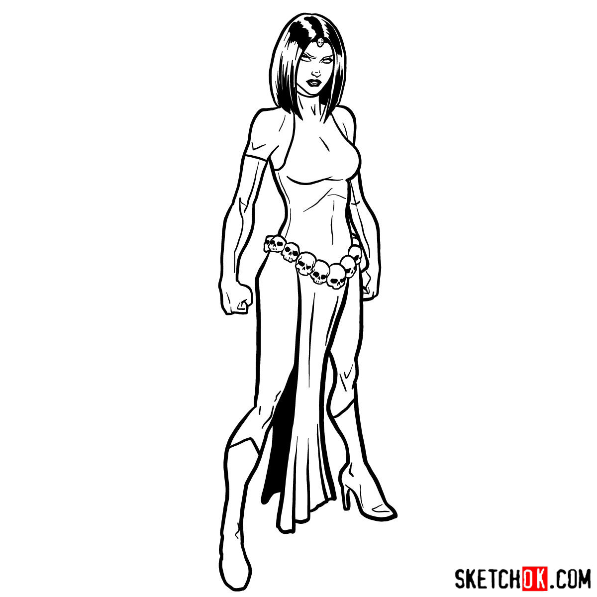 How to draw Mystique from X-Men - step 14