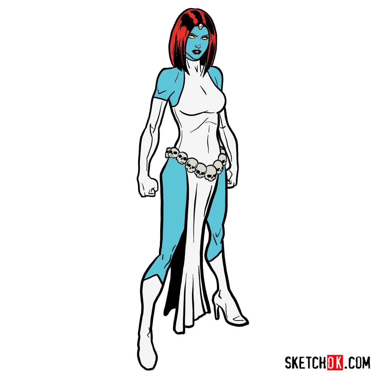 How to draw Mystique from X-Men