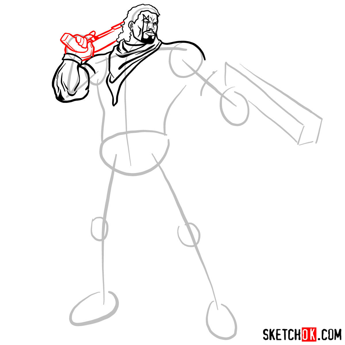 How to draw Lucas Bishop, a mutant from X-Men series - step 08