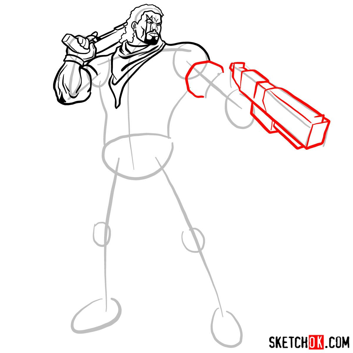 How to draw Lucas Bishop, a mutant from X-Men series - step 09