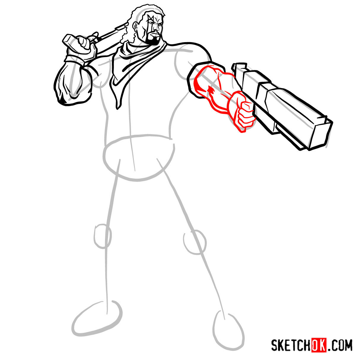How to draw Lucas Bishop, a mutant from X-Men series - step 10