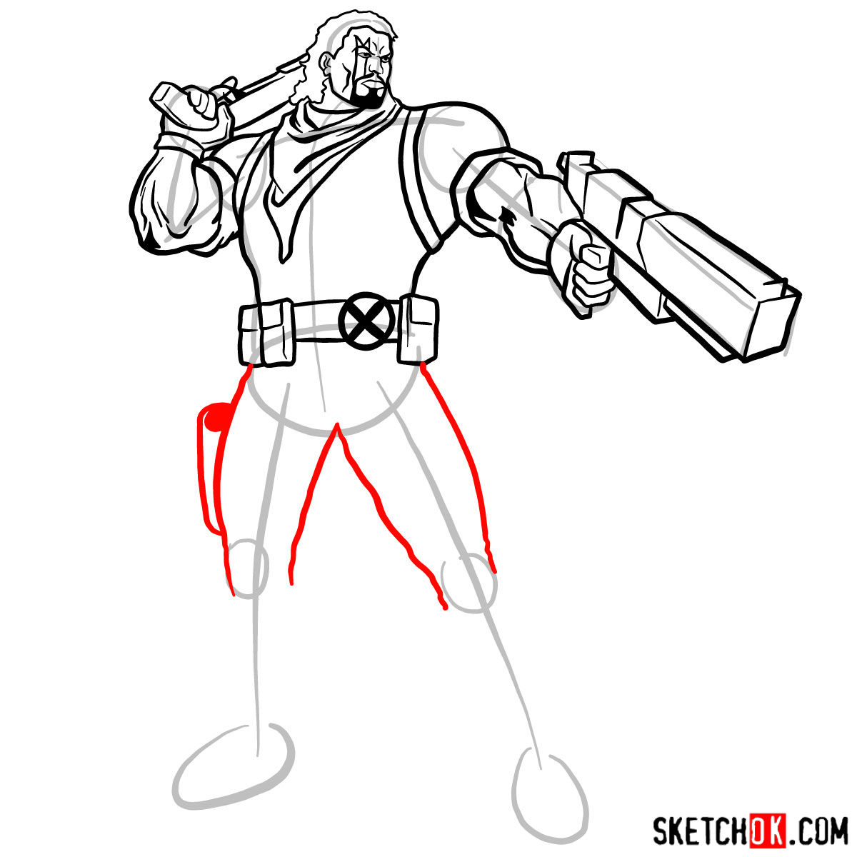 How to draw Lucas Bishop, a mutant from X-Men series - step 12