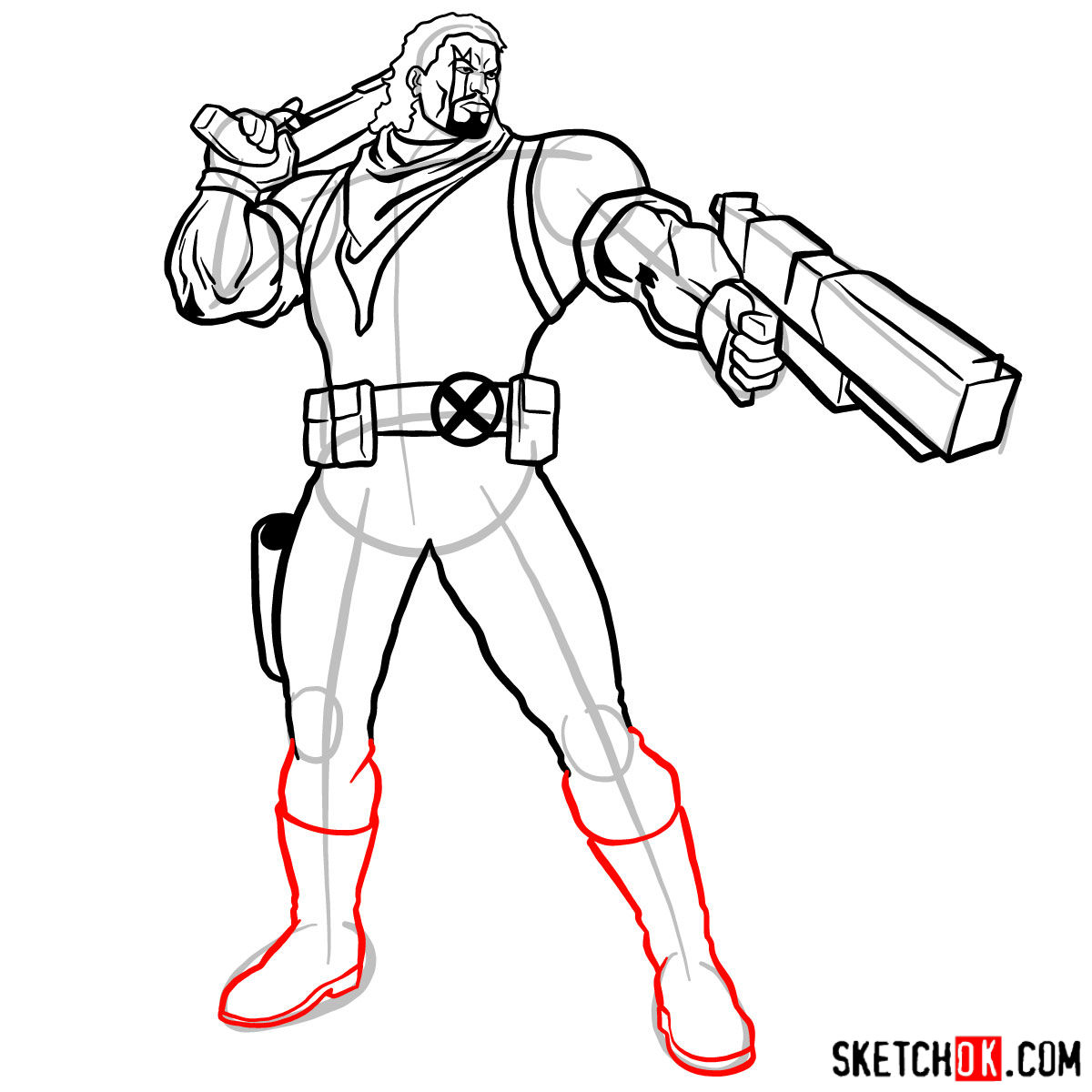 How to draw Lucas Bishop, a mutant from X-Men series - step 13