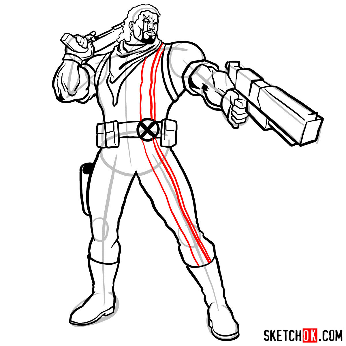 How to draw Lucas Bishop, a mutant from X-Men series - step 14