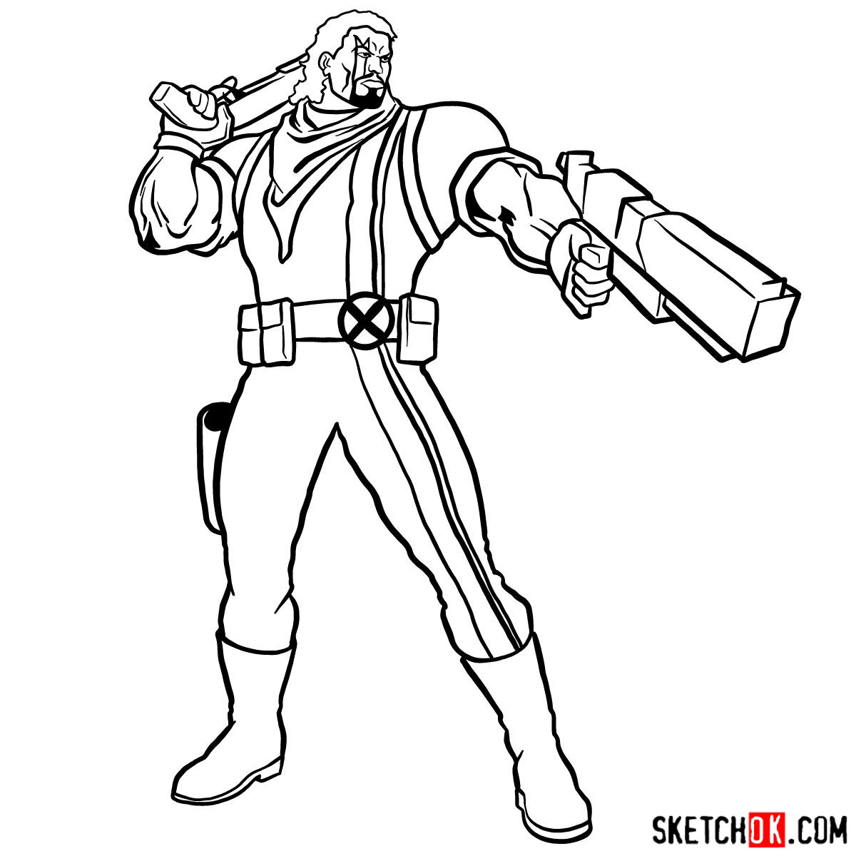 How to draw Lucas Bishop, a mutant from X-Men series - step 15