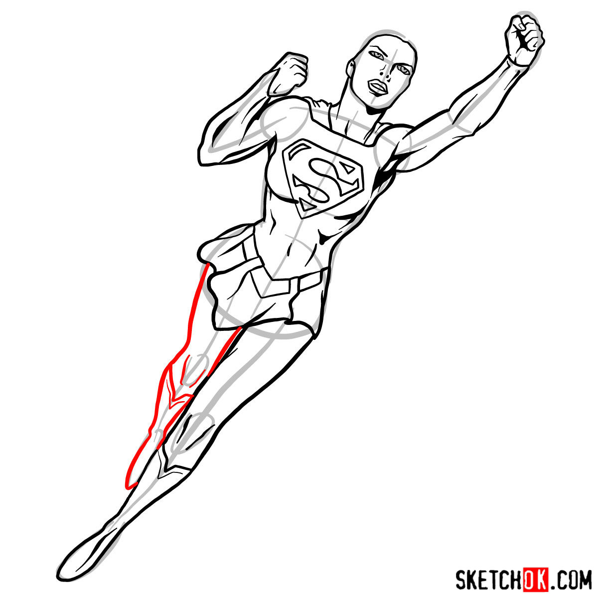 How To Draw Supergirl In Flight Sketchok Step By Step Drawing Tutorials