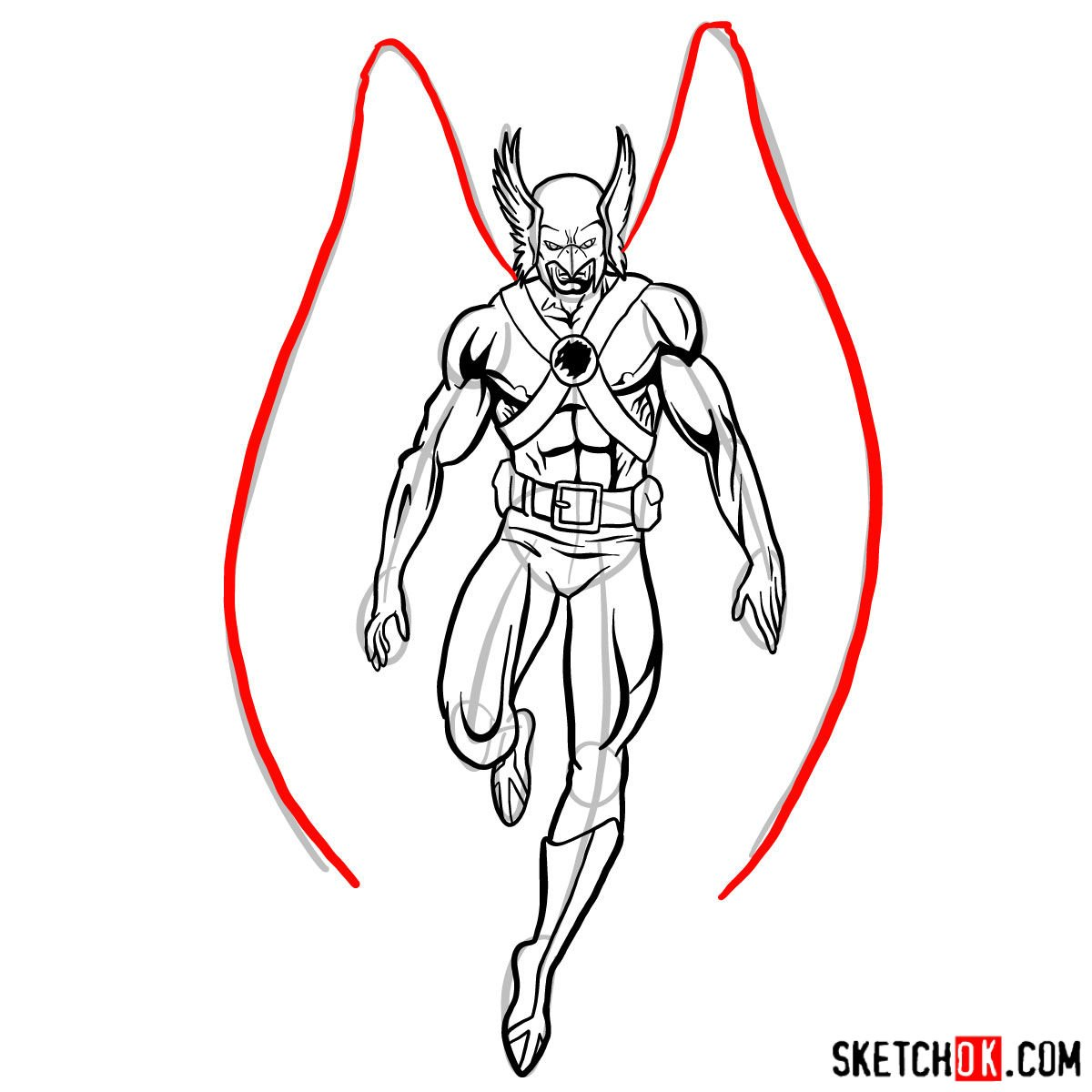 How to draw Hawkman from DC Comics - step 13